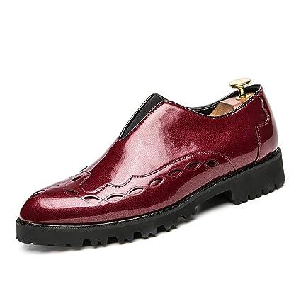 Jiuyue-shoes, Botines Oxford de Cuero de Charol británicos Ocasionales de Hombre de la