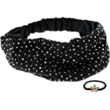 kilofly Bling Bling Wide Elastic Headband, with Faux Pearl Flower Hair Band