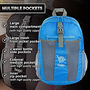 Bago Lightweight Backpack. Water Resistant Collapsible Rucksack for Travel and Sports. Foldable and Packable Daypack for Adults, Men and Women, Teens and Children Blue