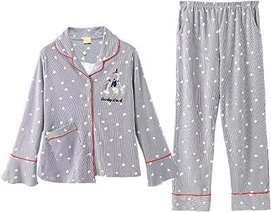 Pijama Pijamas Otoñales De Algodón For Mujer, Pijamas De Punto De Manga Larga con Rayas Dulces De Manga Larga Y Casuales, Pijamas Casuales Pijama de Mujer: Amazon.es: Ropa y accesorios