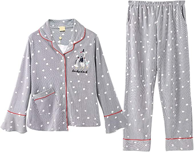 Pijama Pijamas Otoñales De Algodón For Mujer, Pijamas De Punto De ...