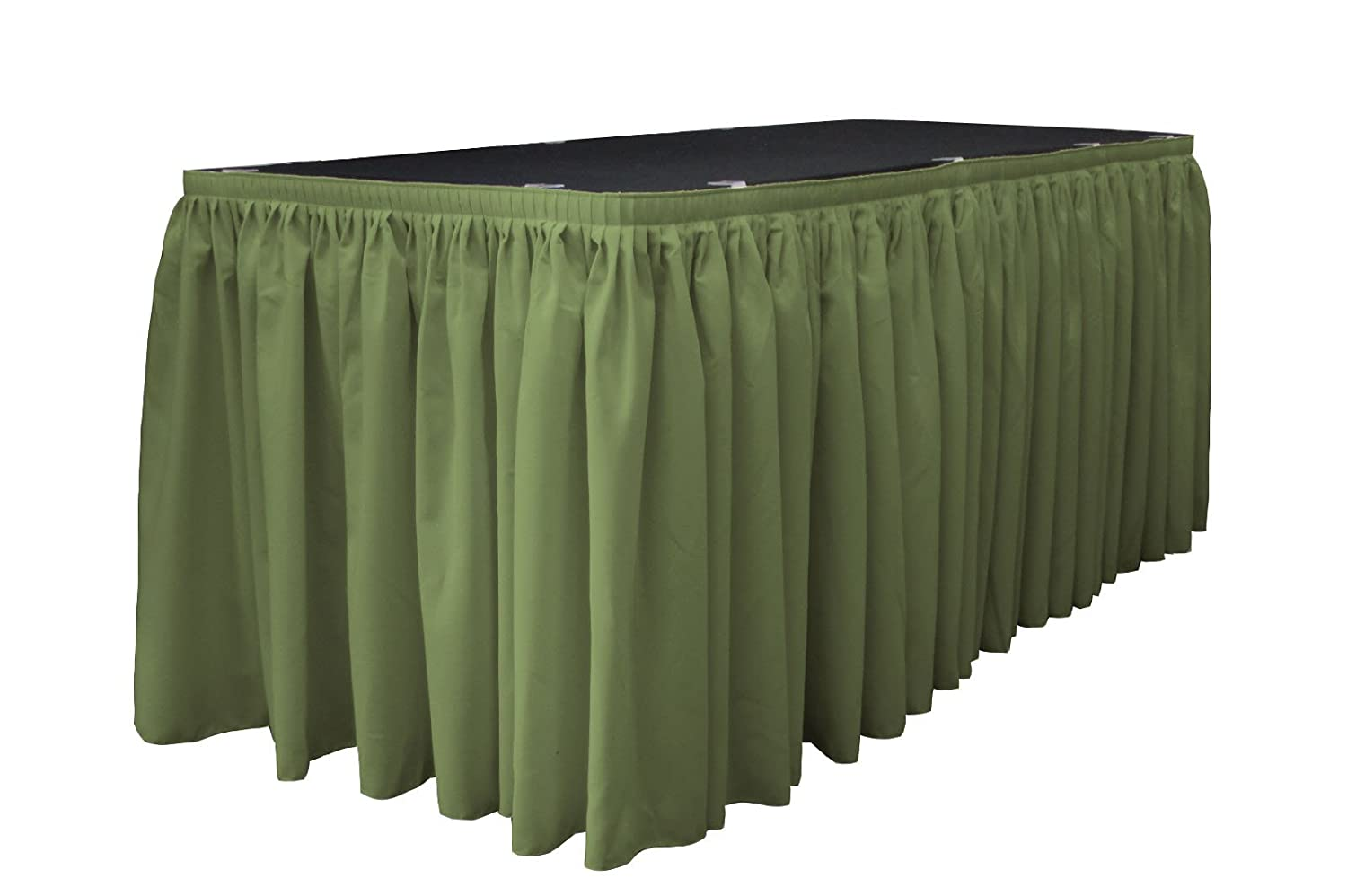 LA Linen Polyester Poplin Pleated Table Skirt with 15 Large Clips Navy Blue SKT21x29pop+15Lclps/_NavyP72 21-Feet by 29-Inch