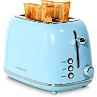 REDMOND 2 Slice Toaster Retro Stainless Steel Toaster with Bagel, Cancel, Defrost Function and 6 Bread Shade Settings Bread Toaster, Extra Wide Slot and Removable Crumb Tray, Blue, ST028