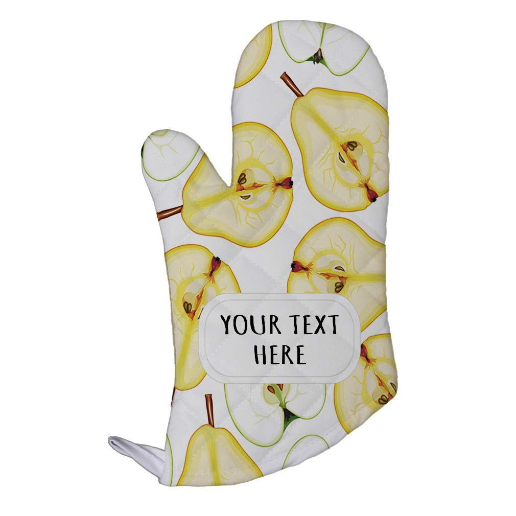 Polyester Oven Mitt Custom Pears and Apples Seemless Pattern Adults Kitchen Mittens