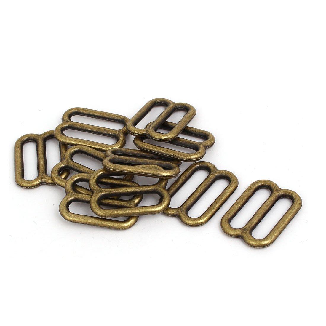 uxcell 33mmx24mmx3.5mm Adjustable Strap Slider Suitcase Bag Fitting Bronze Tone 10pcs