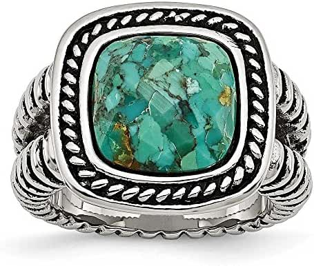 Chisel Stainless Steel Antiqued Imitation Turquoise Ring