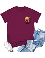 Women Lazy Sloth Pocket Shirts Graphic Funny Animal Short Sleeve Cotton Tops