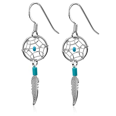 Dream Catcher Sterling Silver Turquoise Imitation Very Small Tiny Delicate Hook Earrings KR6Tz345
