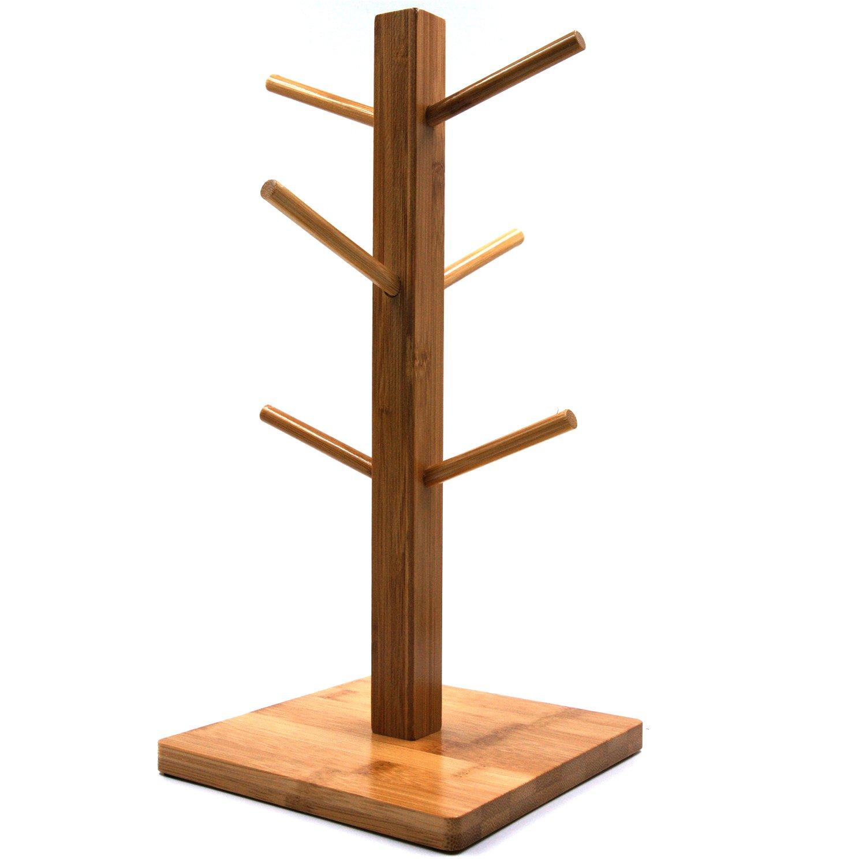 Mug Rack Tree, Removable Bamboo Mug Stand, Storage Coffee Tea Cup Organizer Hanger Holder with 6 Hooks