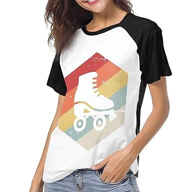 3efa64bc Retro 70s Roller Skating T-Shirt Short Sleeves Tops Custom Baseball Shirt  Top for Womens