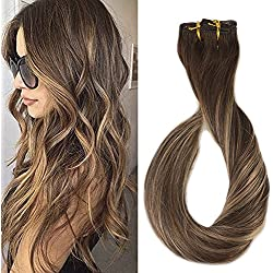 Full Shine 14 inch Clip in 100 Human Hair Extensions Ombre Balayage Color #4 Fading to #24 Highlighted Clip in Real Hair Extensions 9Pcs 120gram