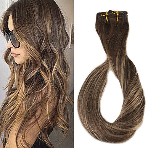 lip in Hair Extensions Balayage Ombre Color #4 Fading to #24 Highlight Remy Clip Hair Extensions 9Pcs 120gram Full Head Set ()