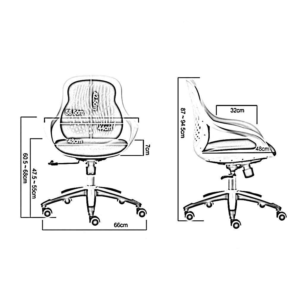 Xiuyun datorstol andningsbar ryggstöd komfort kudde hem arbetsrum stol ljudfri Castorsoffice modern enkelhet personal liten vridbar lång tid plast (färg: svart) Svart