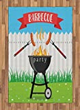 Lunarable BBQ Party Area Rug, Kitchen Utensils Roasting Sausage Over The Fire Backyard Cooking Party Theme, Flat Woven Accent Rug for Living Room Bedroom Dining Room, 4 x 5.7 FT, Multicolor