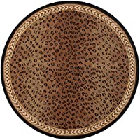Safavieh Chelsea Collection HK15A Hand-Hooked Black and Brown Premium Wool Round Area Rug (7 Diameter)