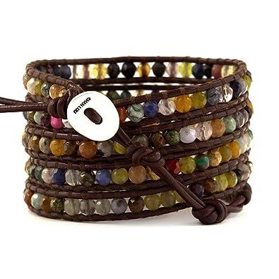 dégagement meilleur en ligne meilleure qualité Chan Luu Multi Stone Wrap Bracelet on Brown Leather