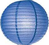 Cultural Intrigue Luna Bazaar Paper Lantern (18-Inch, Parallel Style Ribbed, Blue) - Rice Paper Chinese/Japanese Hanging Decoration - For Home Decor, Parties, and Weddings