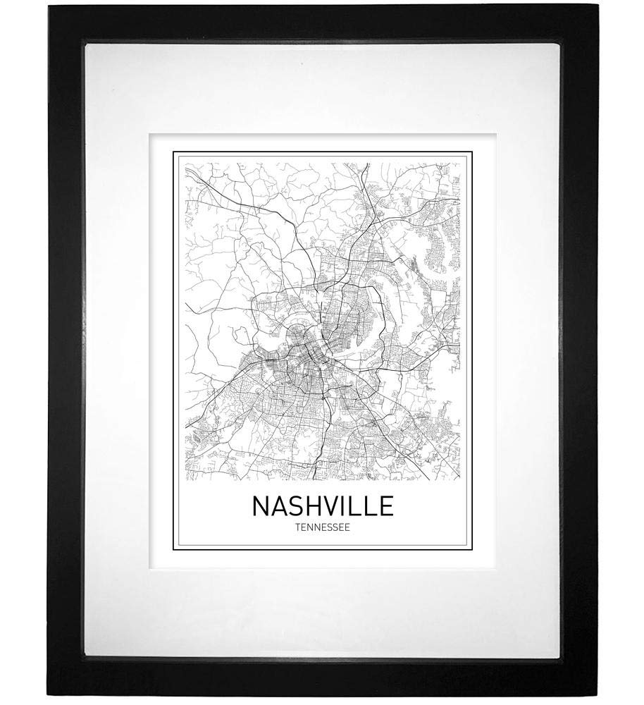 Nashville poster nashville map city map posters nashville map print state tennessee tennessee map modern map art black and white map wall art