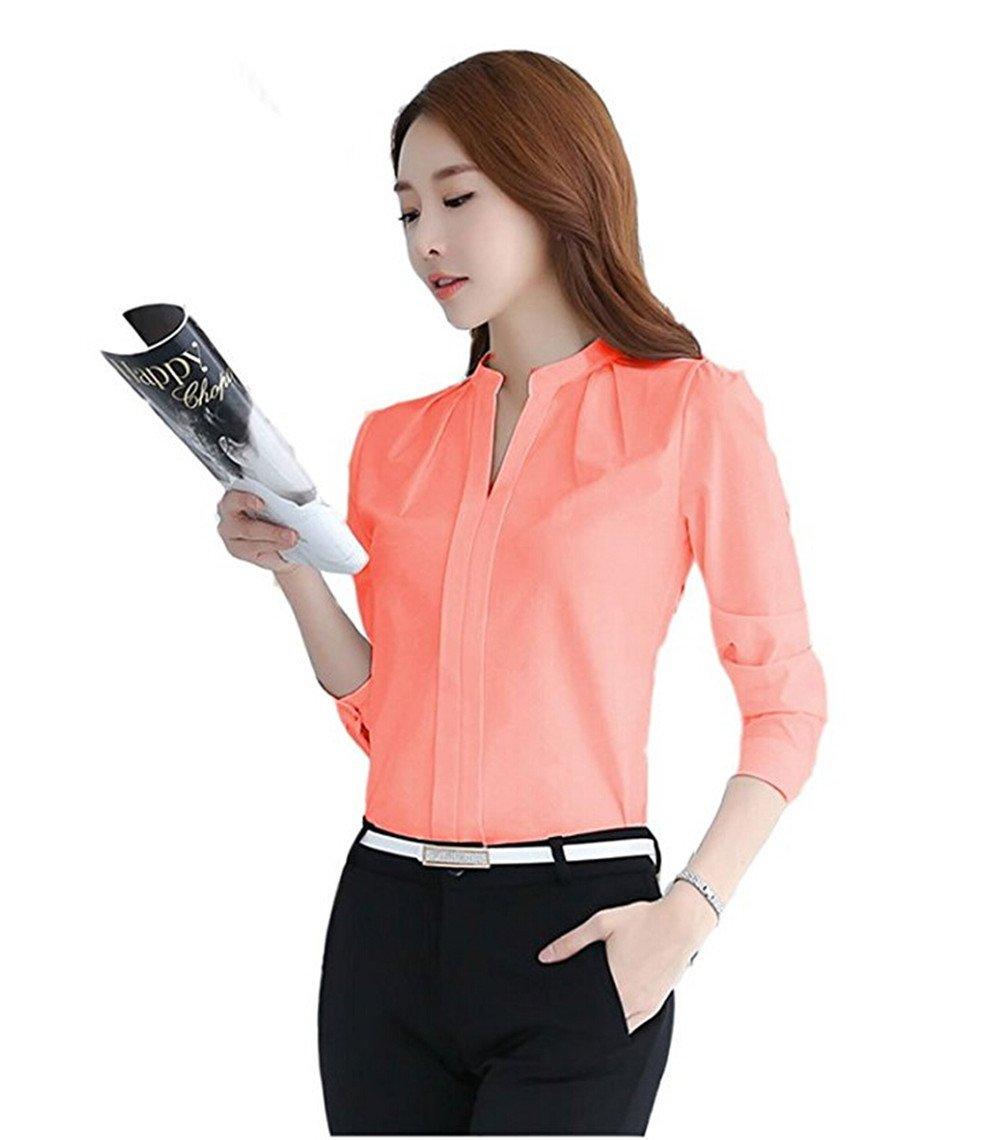 b7d845c2ac075 no no Women V Neck Long Sleeve Sheer Chiffon Shirt Blouse Tops Elegant  Solid Casual Shirts,Medium,Coral - E3653 < Blouses & Button-Down Shirts <  Clothing, ...