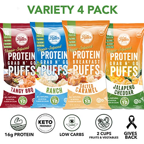 Better Than Good Low Carb Keto Protein Puffs (Variety 4-pack) 2 Servings of Fruits & Veggies - 16g Protein, Paleo, Low Sugar, Low Calories, Gluten Free, Diabetic Healthy Keto Snack Chips Crisps
