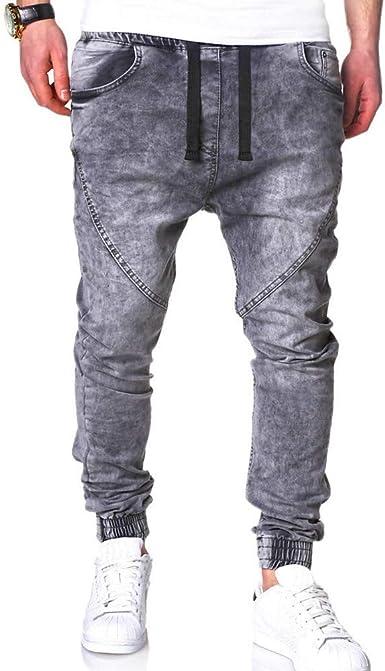 Vintage Casual Pantalones Hombre Pitillo Vaqueros Lavado elástico ...