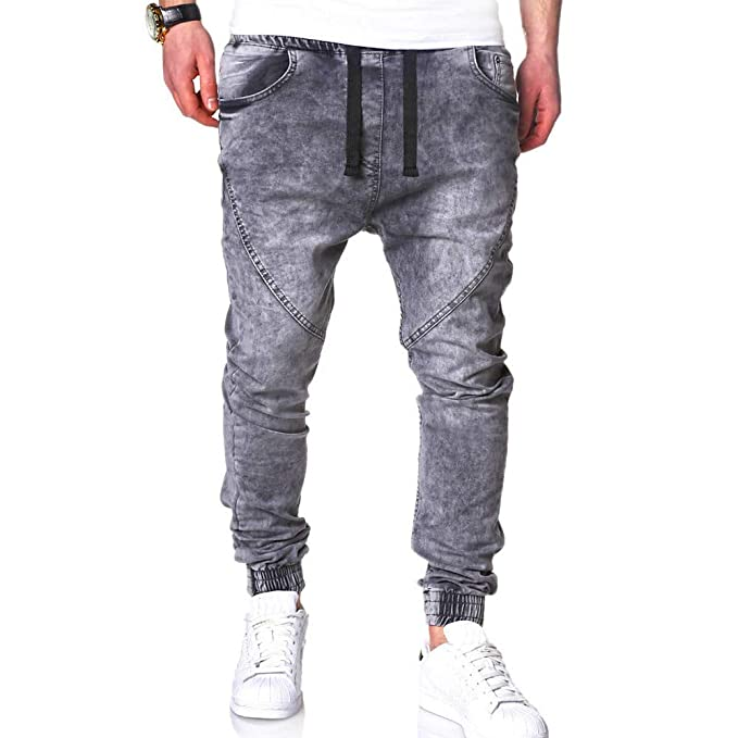 1KTon Men Jeans, Fashion Casual Drawstring Elastic Waist ...