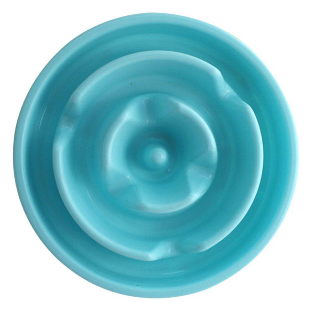Roblue Gamelle d'alimentation Lente pour Chiens Chat Animaux de Compagnie Motiif Floral en Plastique Bleu YEAH