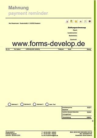 Mahnungen Zahlungserinnerungen Mahntexte Pdf A4 H Standard