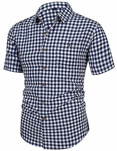 Hanmor Men's Casual Cotton Short Sleeve Plaid Western Button Down Dress Shirts Navy XX-Large (Gingham Dress Navy)