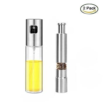 Xnuoyo Sprayer Dispensador de aceite portátil 304 de acero inoxidable pulverizador de aceite 100 ml con 1 paquete de sal y pimienta para barbacoa, pan, ...