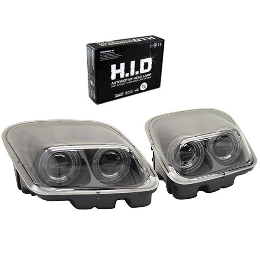Lights Fits 1997-2004 Chevy Corvette C5   2X 6000K Projector Headlight Black Dual LED Halo Rim by IKON MOTORSPORTS   1998 1999 2000 2001 2002 2003