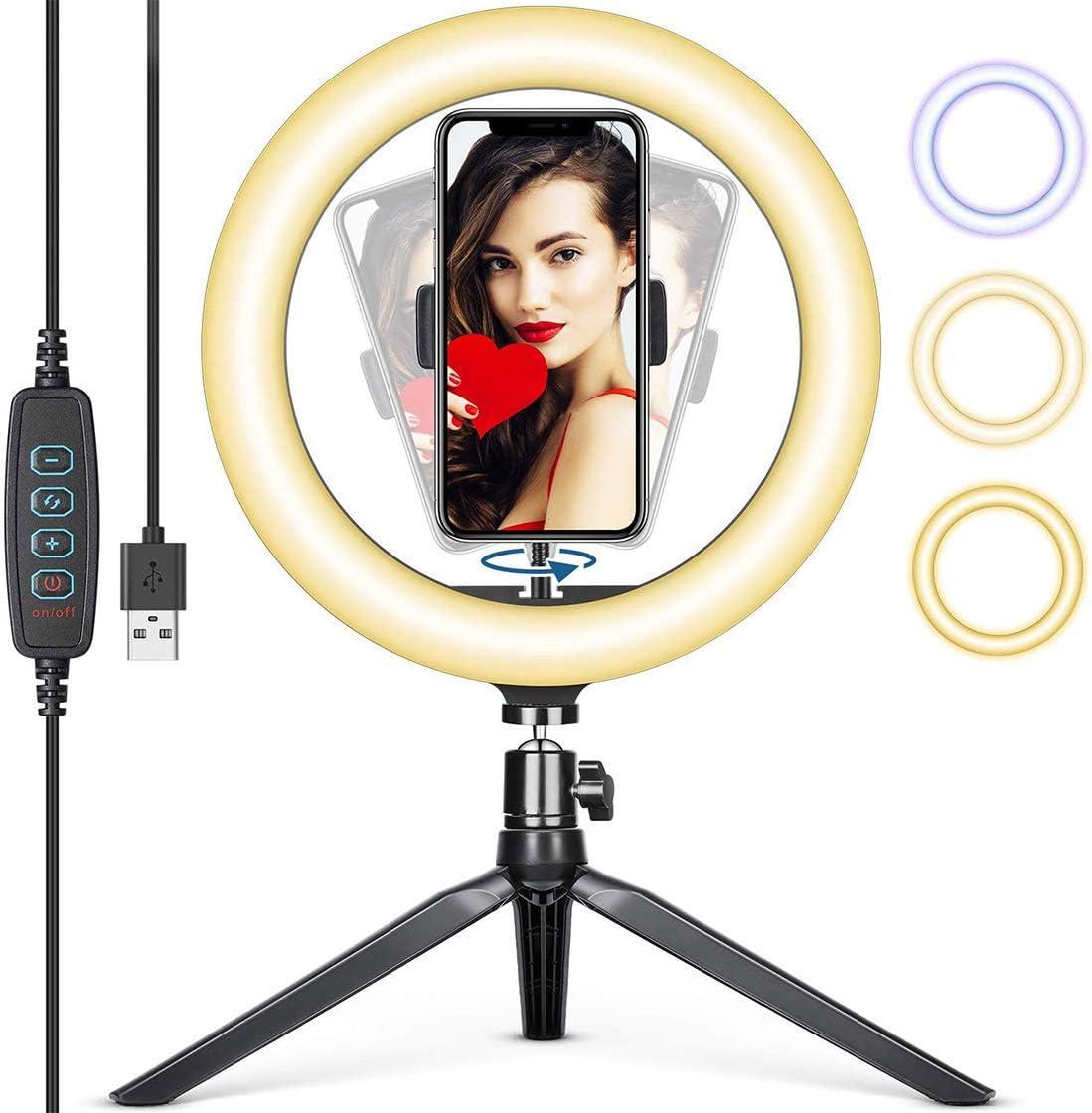 Tr/ípode con Soporte Giratorio de tel/éfono para Selfie TIK Tok Live Maquillaje 10.2 Aro de Luz fotografia de Escritorio 3 Colores y 10 Brillos Regulables Youtube Ventdest Luz de Anillo LED