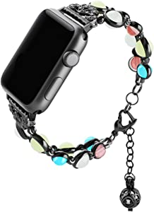 Gaishi Band Compatible with Apple Watch 42mm 44mm, Women Girl Elastic Handmade Night Luminous Pearl Bracelet Replacement for 42mm Apple Watch Series SE 6 5 4 3 2 1, Black