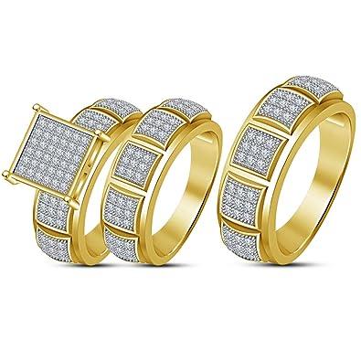 Lilu Jewels - Juego de 3 Anillos de Compromiso con Diamantes de ...