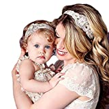 Voberry® Baby's hair band Baby Girl Crystal Pearl Crystal Crown Princess Headband Parent-Child set (White)