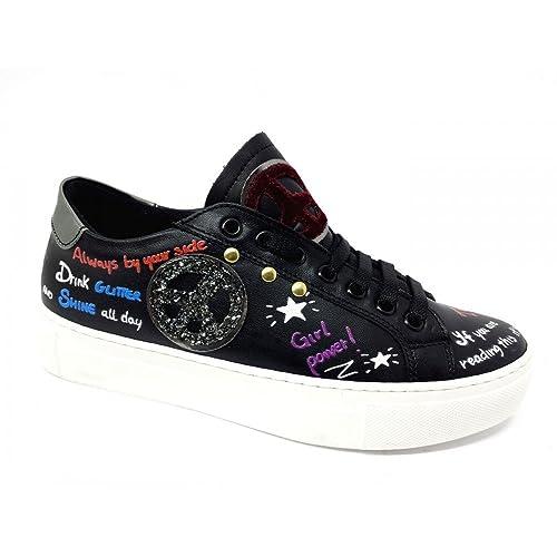 ILS Italia 1012 Sneakers Platform Donna Vera Pelle Nero Stampato Zeppa cm 3,5