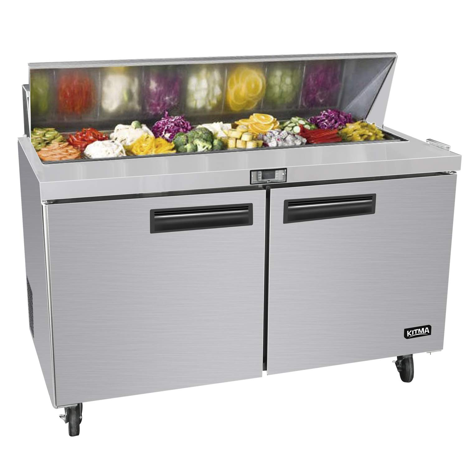 60 Inches Sandwich Salad Prep Table Refrigerator - KITMA 18.2 Cu. Ft 2 Door Food Prep Station Table with Cutting Board and 16 Pans, 33 °F - 38°F by KITMA