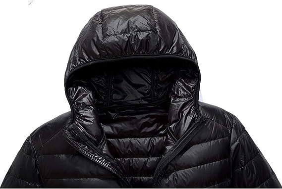 QUHS Mens Winter Quilted Zipper Packable Mid-Long Hood Parka Jacket Coat Outwear