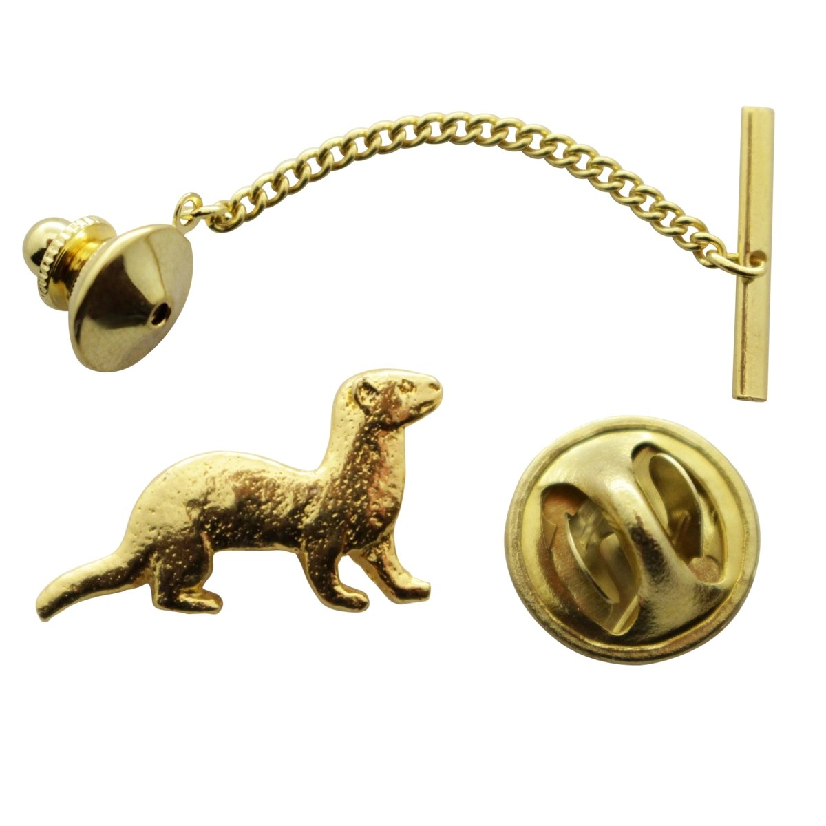Ferret Tie Tack ~ 24K Gold ~ Tie Tack or Pin ~ Sarahs Treats /& Treasures