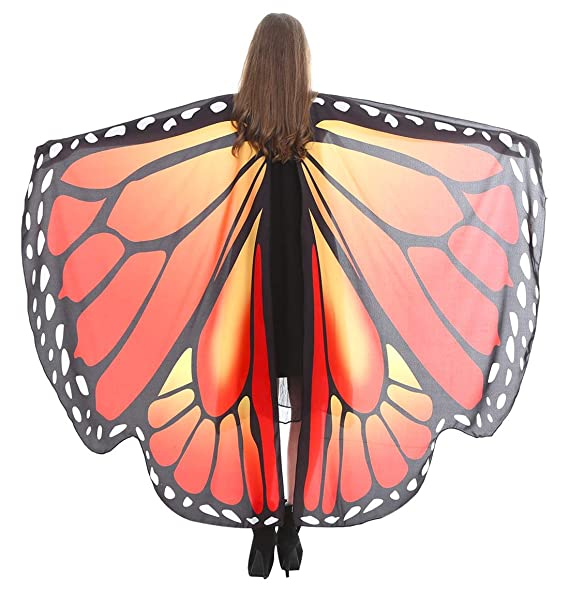 523b661696003 Ladies Halloween Butterfly Wings Shawl Cape Scarf Fairy Poncho Wrap  Colorful Costume Accessory for Adult