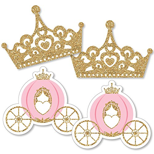 Little Princess Crown - Tiara & Carriage Decorations DIY Pink and Gold Princess Baby Shower or Birthday Party Essentials - Set of 20 -