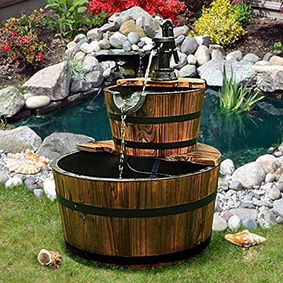 COSTWAY Fuente de Jardín de Madera Fuente de Agua Fuente de 2 Niveles Decoración para Patio Exterior Interior: Amazon.es: Hogar
