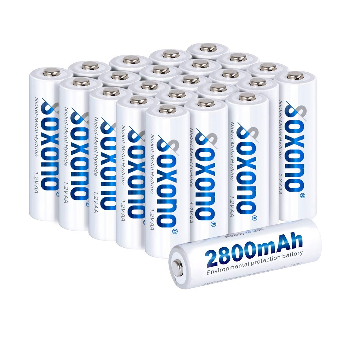 Sonoxo AA Batteries Rechargeable,AA Rechargeable Batteries 2800mAh High Capacity AA Battery 1.2V Ni-MH Low Self Discharge 24 Pack by SOXONO