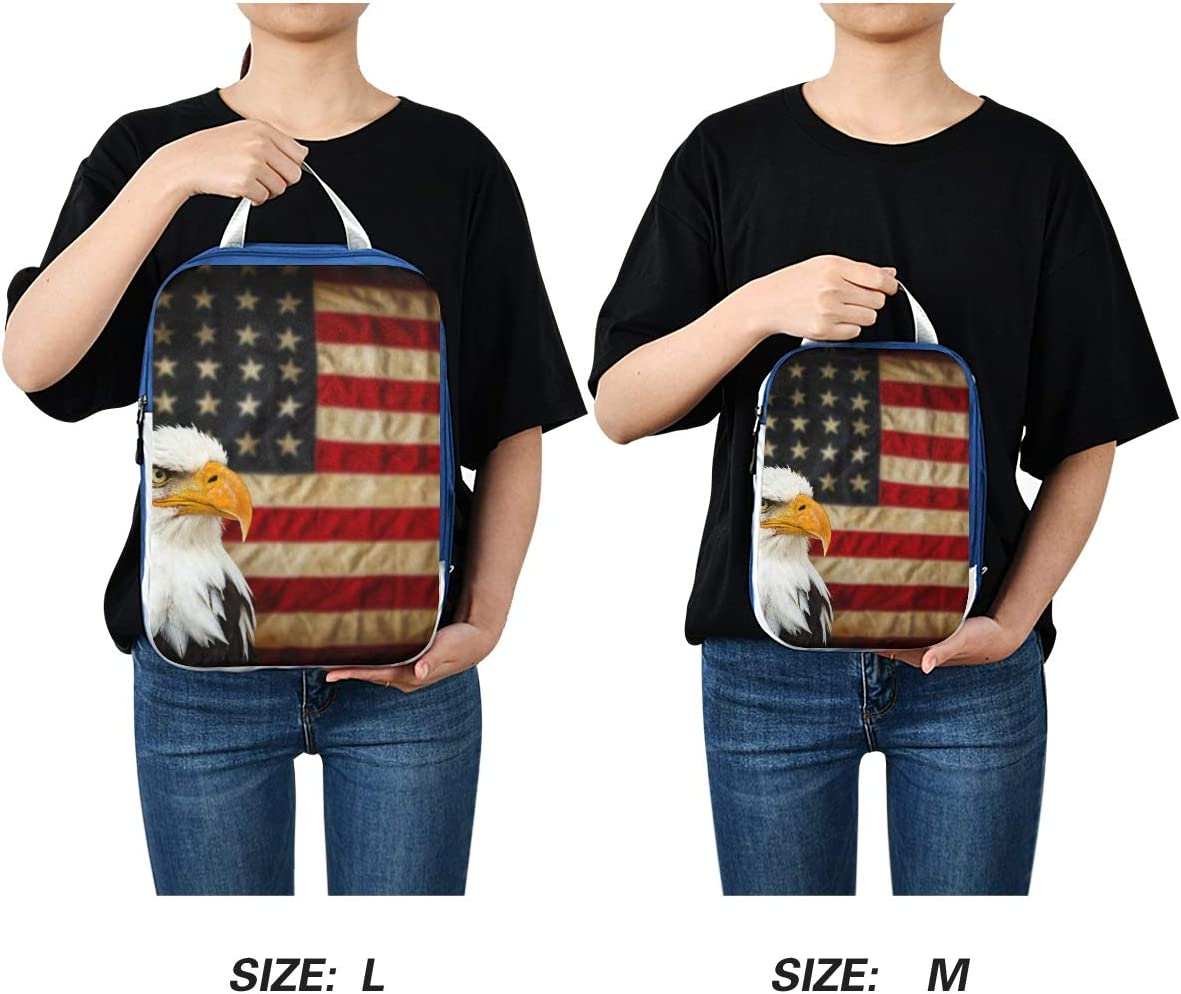 Bald Eagle With American Flag 3 Set Packing Cubes,2 Various Sizes Travel Luggage Packing Organizers p