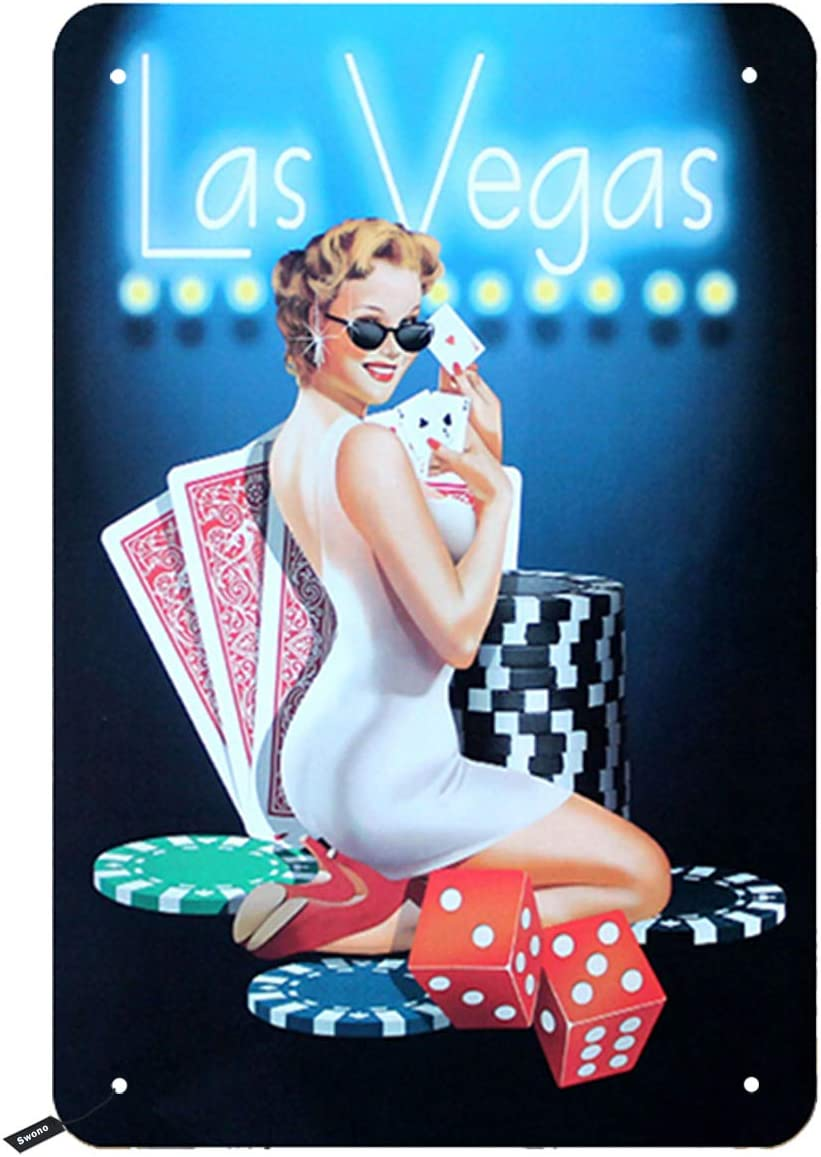 Swono Poker Tin Signs,Las Vegas Sexy Pink Up Girl Pick Poker Vintage Metal Tin Sign for Men Women,Wall Decor for Bars,Restaurants,Cafes Pubs,12x8 Inch