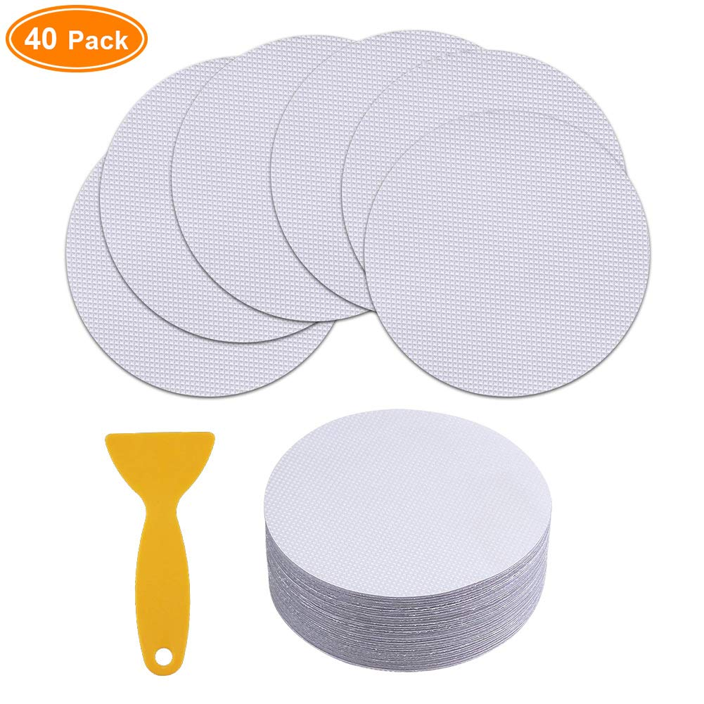 B07JWFBBK6 NORACLAN 40 Pieces Non-Slip Safety Shower Treads 3.9in PEVA Anti-Slip Discs Tape Non Slip Stickers for Tubs Bath (Clear) 61Dfhg3yGML