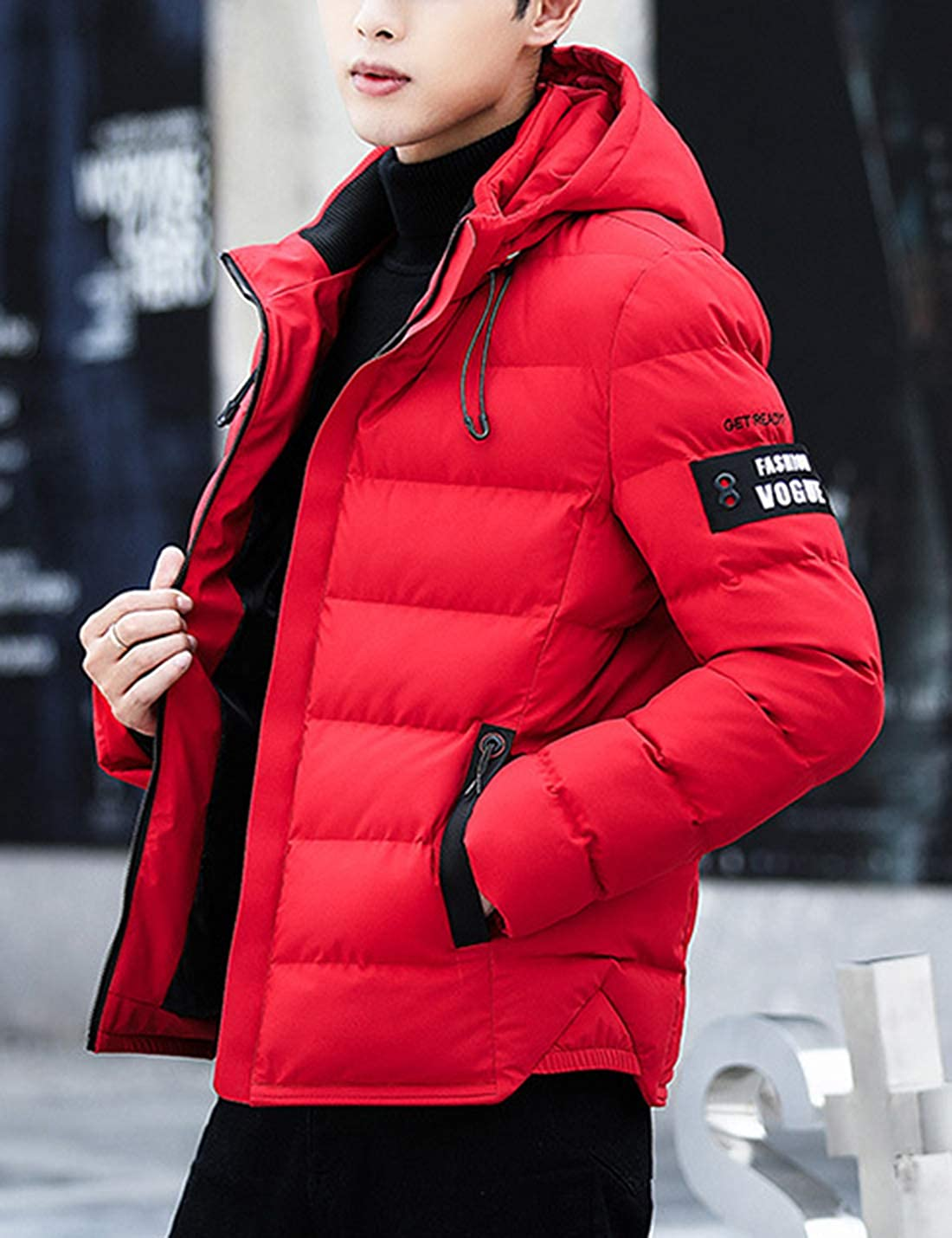 Tanming Mens Hooded Rib Stand Zip Front Quilted Cotton Padded Puffy Coats Jackets