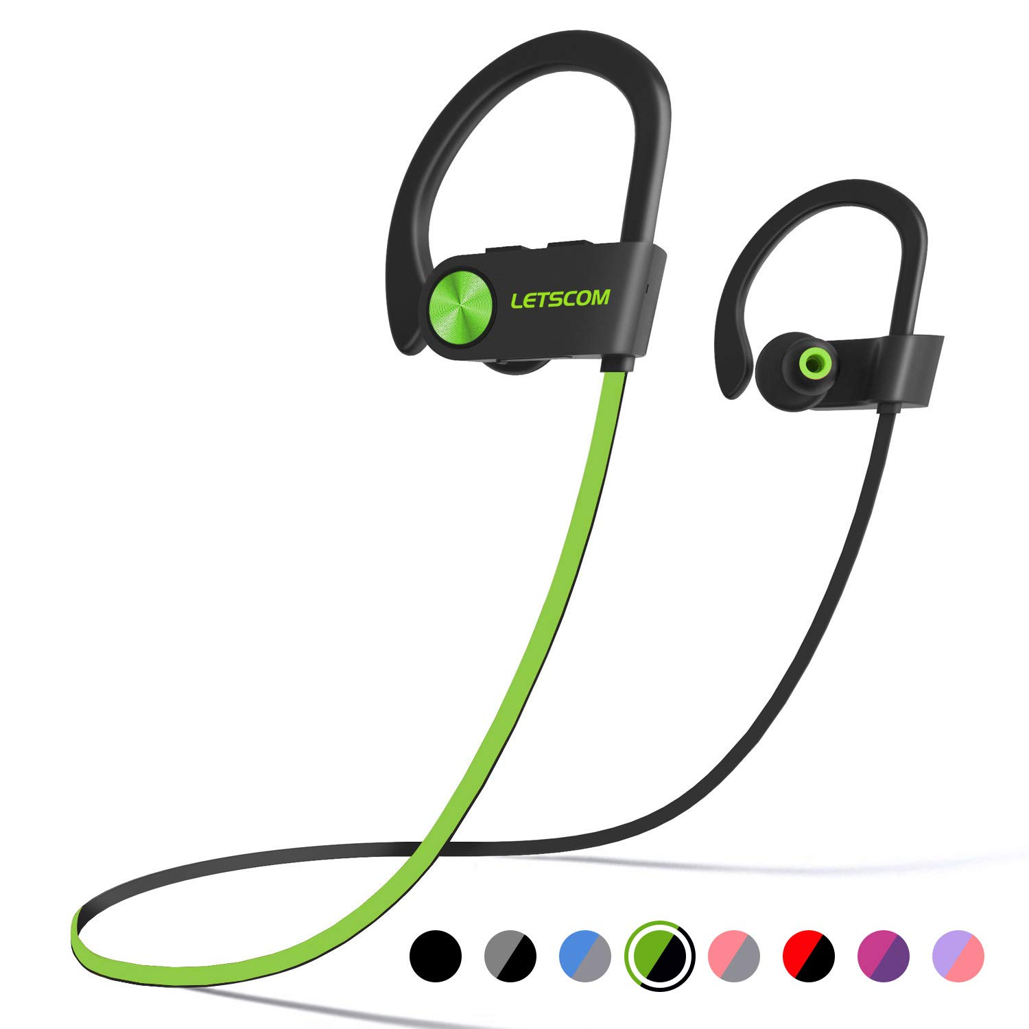LETSCOM Bluetooth Headphones IPX7 Waterproof, Wireless Sport Earphones, HiFi Bass Stereo Sweatproof Earbuds w Mic, Noise Cancelling Headset for Workout, Running, Gym, 8 Hours Play Time