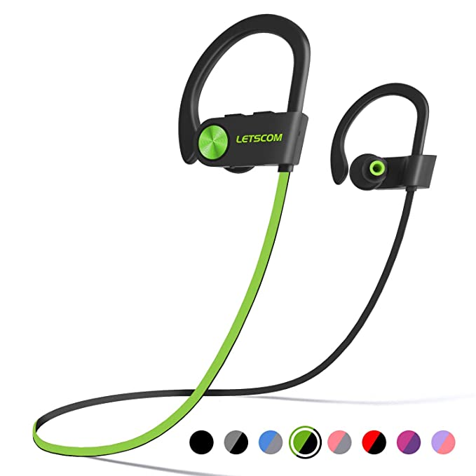 a096dddc278 LETSCOM Bluetooth Headphones IPX7 Waterproof, Wireless Sport Earphones  Bluetooth 4.1, HiFi Bass Stereo Sweatproof