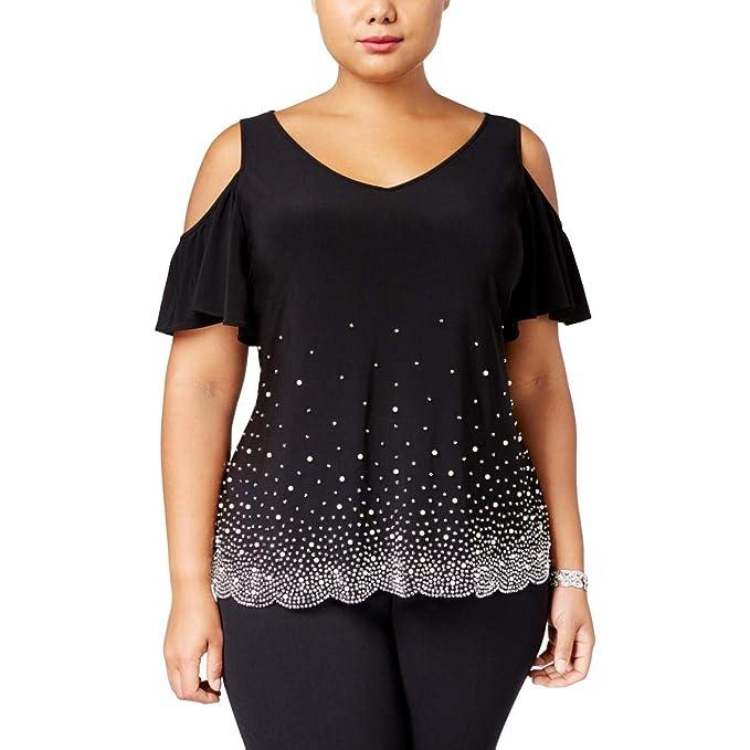 19776f61c0362 MSK Women Womens Plus Cold Shoulder Embellished Blouse Black 1X at ...